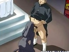 Anime nun gets fucked wide of crooked priest