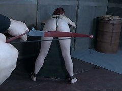 In a tizzy in flames fiend Kel Bowie gets the brush pussy punished in the agony room