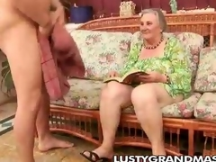 Nasty granny Margots hairy cunt for juvenile horseshit