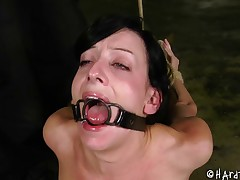 Crucified bondage slave face hole acquiring widened in Sadomasochism