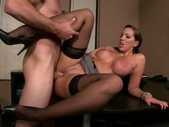 Kelly Divine widening her legs for a priceless office fuck