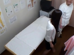 Asian gets prurient throw up on working massage spy cam