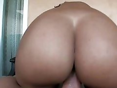 Large butt ebony babe with pierced nipples gets her beaver rammed