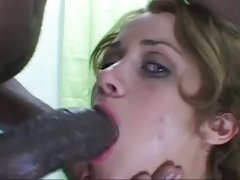 Sexual brunette takes a massive prick down her throat