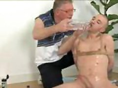 Perverted grandpa and tied bald twink