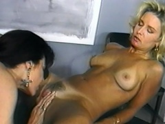 Get a load of these two brunette lady cops as they get nasty with...