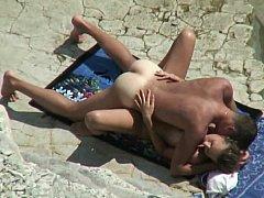 Non-professional pair on a beach
