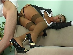 Strict looking office hottie takes a hard offer gagging on meat for...