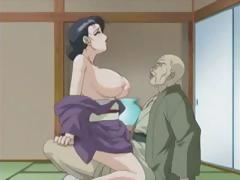 Dark-haired anime MILF takes big cock in her mouth and hairy pussy