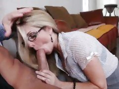 Filthy Angela Attison sucking cock in the office