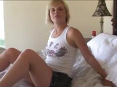 Youthful blonde chick gets her pussy nice and wet for step daddy's cock