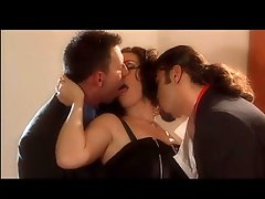 Smoking Brunette IN A Threesome With Two Big Cocks