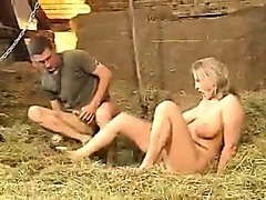 German three-some in the barn