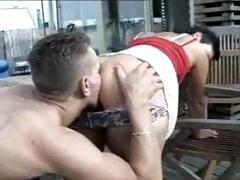 Non-professional German raven-haired gets on her knees to suck and gets nailed