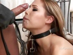 Master skull fucks his slave slut and gags her with his load