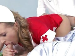 Naughty nurse fucked by doctor as she sucks off patient