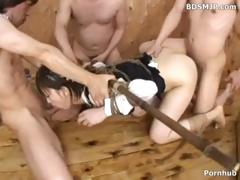 Japanese girl is fastened up and blindfolded as they takes turns with her