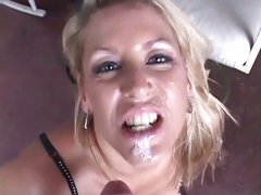 Adorable Chelsea Zinn gets her face splattered with cum