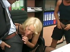 Blonde milf secretary gets double dong fun