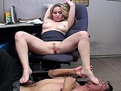 Office slut makes the janitor lick her sweaty armpit & feet...