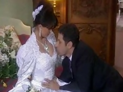 The bride in her dress is fucked hard