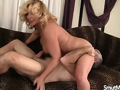 Obese older blonde does sixty-nine and gets her chasm pumped