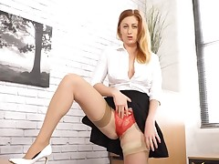 Seamed stockings ask pardon will not hear of upskirt flashing hotter