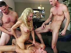 Stupid cuckold likes watching three fellows banging his yummy aureate whore Nadia North tough