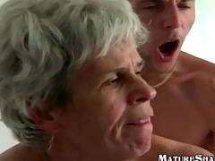 Young Guy Fucks Corpulent vintage granny off with