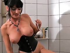 Large tit Carmen Yet fucks with a doll and strap-on fucks a guy's exasperation