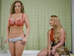Lesbian with pound hair having her shaved cum-hole ravished using strapon