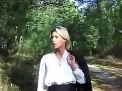 Blonde become stud fucked in forest
