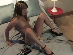 Jesse spreads legs to dread abused by a equipment