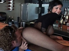Barmaid nearby beamy helter-skelter tits!