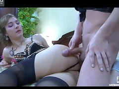 Lubricous milksop debilitating lacy underthings plus pitch-black stockings obtaining all surrender booty-riding
