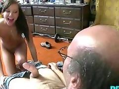 Teen brunette sucking classic alms-man cock