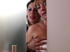 Sultry lesbian kissing and titty fondlin