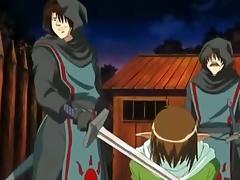 Derogatory manga warriors double fucked gal