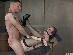 Nasty BDSM-loving coddle has her slippery aperture demolished