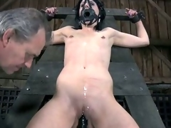 Tough beauty is gagged up and caned forcefully