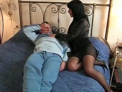 Jet-black hair Italian wife goes to say no to lover