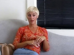 Cynthia sucks dick and gives blowjob previous to taking cum in mouth