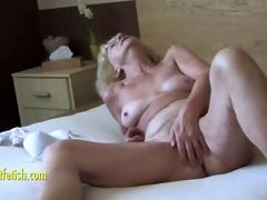 Granny Eva masturbation together with fingering hirsute pussy