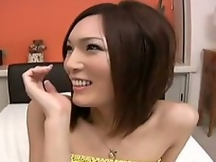 Japanese sheboy in threesome