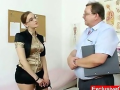 Chubby amateur gal with glasses fingered by gyno MD