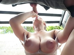 A busty princess that loves striptease outdoors is getting rammed