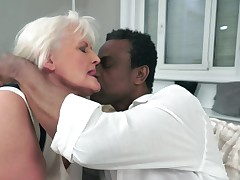 A granny gets their way generous saggy boobs groped away from a generous black impoverish