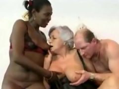 Granny watches son encompassing over a Double fucking