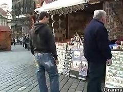 Granny migrant gets picked up and pounded