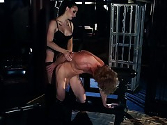 A oddball girl that has revealing lingerie is getting licked in hammer away room